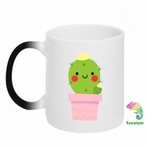 Kubek-kameleon Śliczny uśmiechnięty kaktus