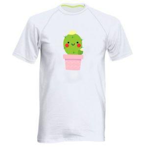 Koszulka sportowa męska Śliczny uśmiechnięty kaktus