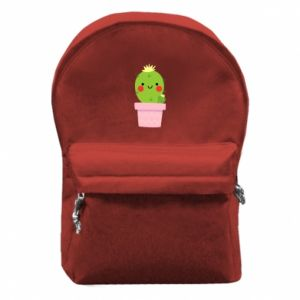 Backpack with front pocket Cute cactus smiling