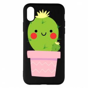 Etui na iPhone X/Xs Śliczny uśmiechnięty kaktus