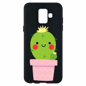 Etui na Samsung A6 2018 Śliczny uśmiechnięty kaktus