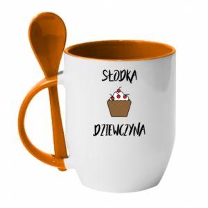 Mug with ceramic spoon Sweet Girl! - PrintSalon