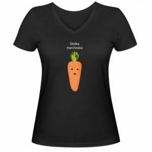 Damska koszulka V-neck Słodka marchewka