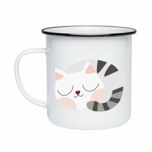 Kubek emaliowany Słodki kot