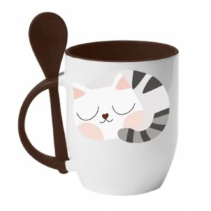 Kubek z ceramiczną łyżeczką Słodki kot