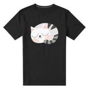 Męska premium koszulka Słodki kot
