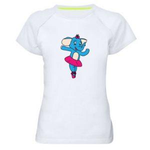 Damska koszulka sportowa Słoń-balerina - PrintSalon