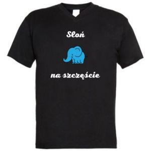 Men's V-neck t-shirt Elephant for luck - PrintSalon