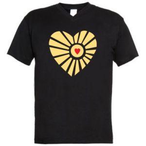 Męska koszulka V-neck Słońce z sercem