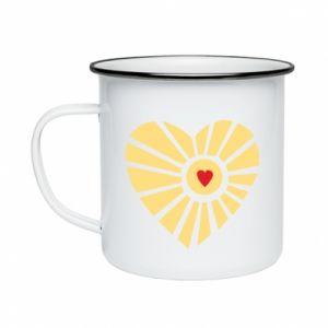 Kubek emaliowane Słońce z sercem