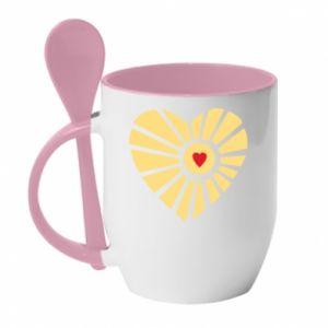 Kubek z ceramiczną łyżeczką Słońce z sercem