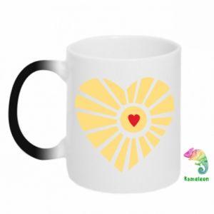 Kubek-kameleon Słońce z sercem