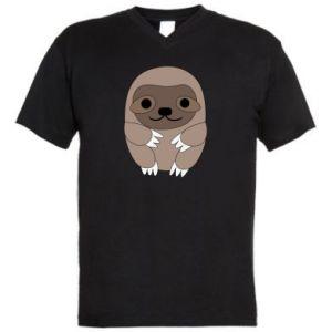 Męska koszulka V-neck Sloth baby - PrintSalon