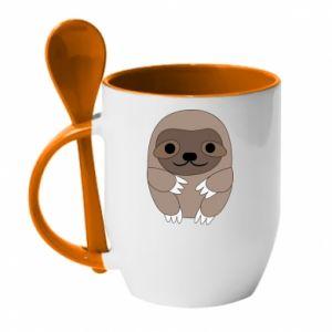 Kubek z ceramiczną łyżeczką Sloth baby - PrintSalon