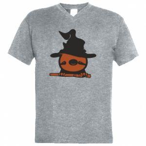 Męska koszulka V-neck Sloth in a hat
