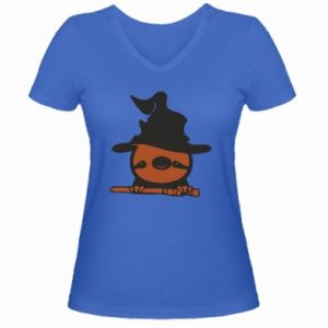 Women's V-neck t-shirt Sloth in a hat