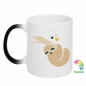 Chameleon mugs Sloth on a branch with hearts