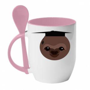 Kubek z ceramiczną łyżeczką Sloth student - PrintSalon