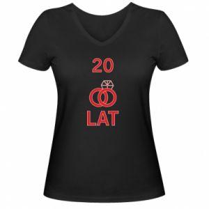 Damska koszulka V-neck Ślub 20 lat