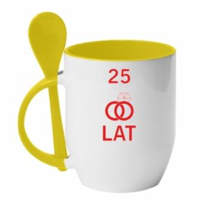 Mug with ceramic spoon Wedding 25 years - PrintSalon