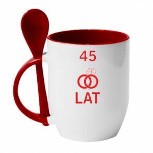 Mug with ceramic spoon Wedding 45 years - PrintSalon