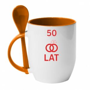 Mug with ceramic spoon Wedding 50 years - PrintSalon