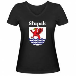 Damska koszulka V-neck Słupsk. Herb