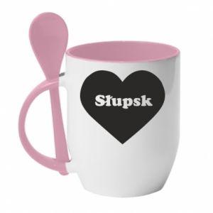 Kubek z ceramiczną łyżeczką Slupsk in heart - PrintSalon