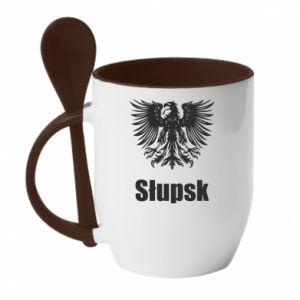 Kubek z ceramiczną łyżeczką Słupsk - PrintSalon