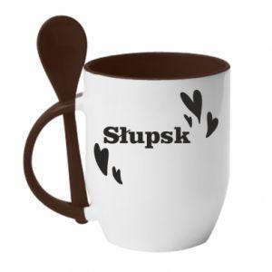 Mug with ceramic spoon I love Slupsk!