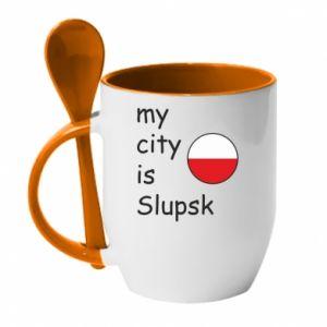 Kubek z ceramiczną łyżeczką My city is Slupsk