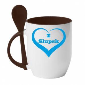 Kubek z ceramiczną łyżeczką I love Slupsk - PrintSalon
