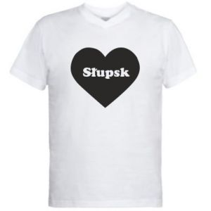 Męska koszulka V-neck Slupsk in heart - PrintSalon