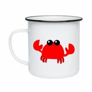 Kubek emaliowany Small pink crab