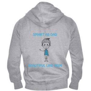 Męska bluza z kapturem na zamek Smart as dad - PrintSalon