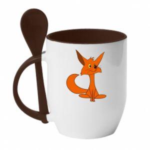 Kubek z ceramiczną łyżeczką Smart Fox - PrintSalon