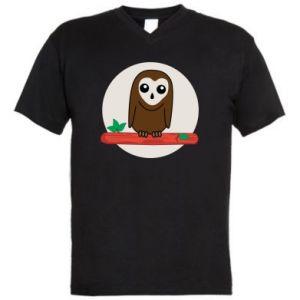 Męska koszulka V-neck Śmieszna sowa