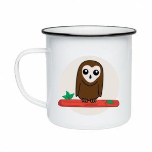 Enameled mug Funny owl