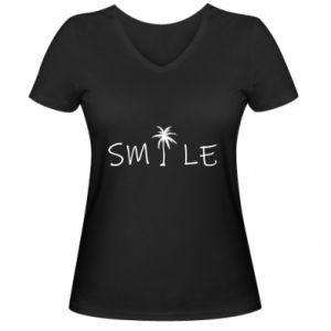 Damska koszulka V-neck Smile inscription