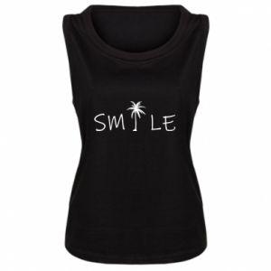 Damska koszulka bez rękawów Smile inscription