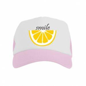 Czapka trucker dziecięca Smile lemon