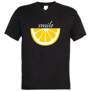 Męska koszulka V-neck Smile lemon