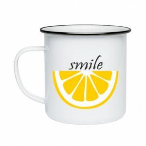 Kubek emaliowany Smile lemon