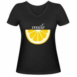 Damska koszulka V-neck Smile lemon