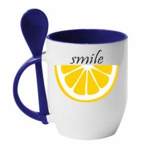 Kubek z ceramiczną łyżeczką Smile lemon