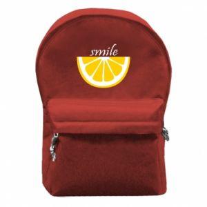 Plecak z przednią kieszenią Smile lemon