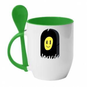 Kubek z ceramiczną łyżeczką Smile