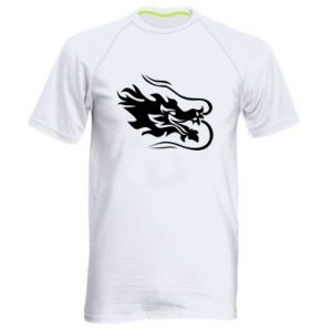 Men's sports t-shirt Dragon with fire