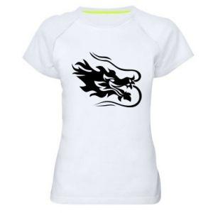 Women's sports t-shirt Dragon with fire