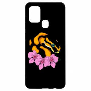 Etui na Samsung A21s Snake in flowers